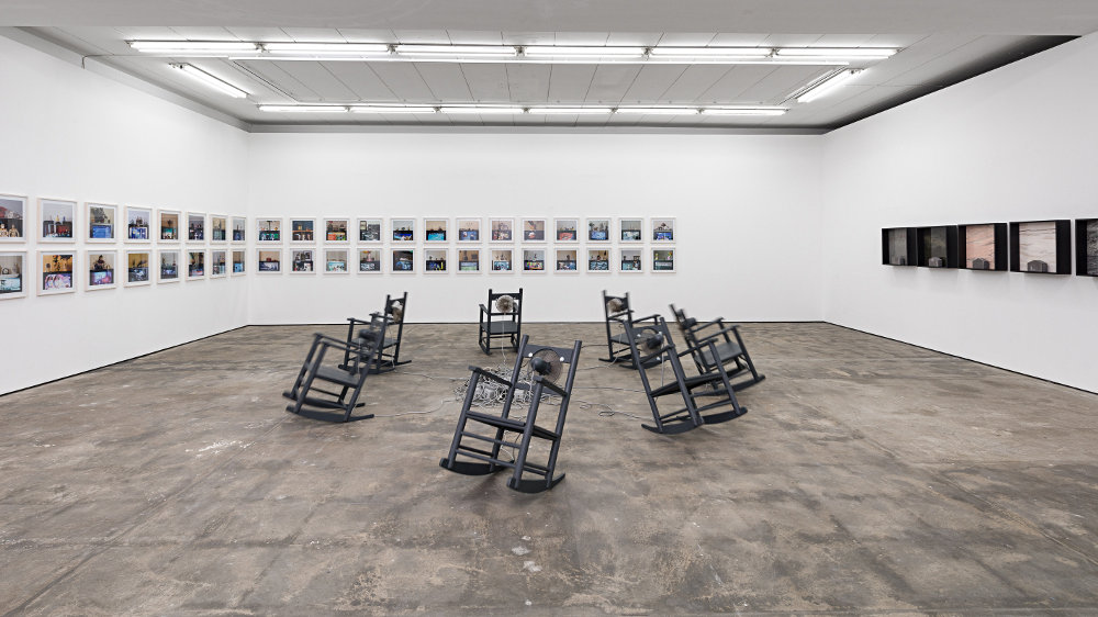 Timm Ulrichs Fourth Solo Exhibition At WENTRUP Comprises The Eponymous Photo Series Die Welt Im Wohnzimmer Das Fernsehgerat Als Sockel Und Hausaltar
