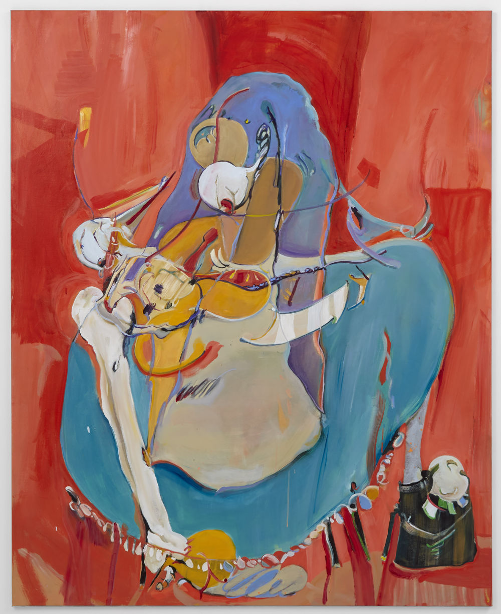 Stefanie Heinze, Bone On Skin (Mary-Won't-Go-Around), 2017, oil and acrylic on canvas, 180 x 145 cm, 70.9 x 57.1 in. Private Collection. Courtesy Pippy Houldsworth Gallery, London.