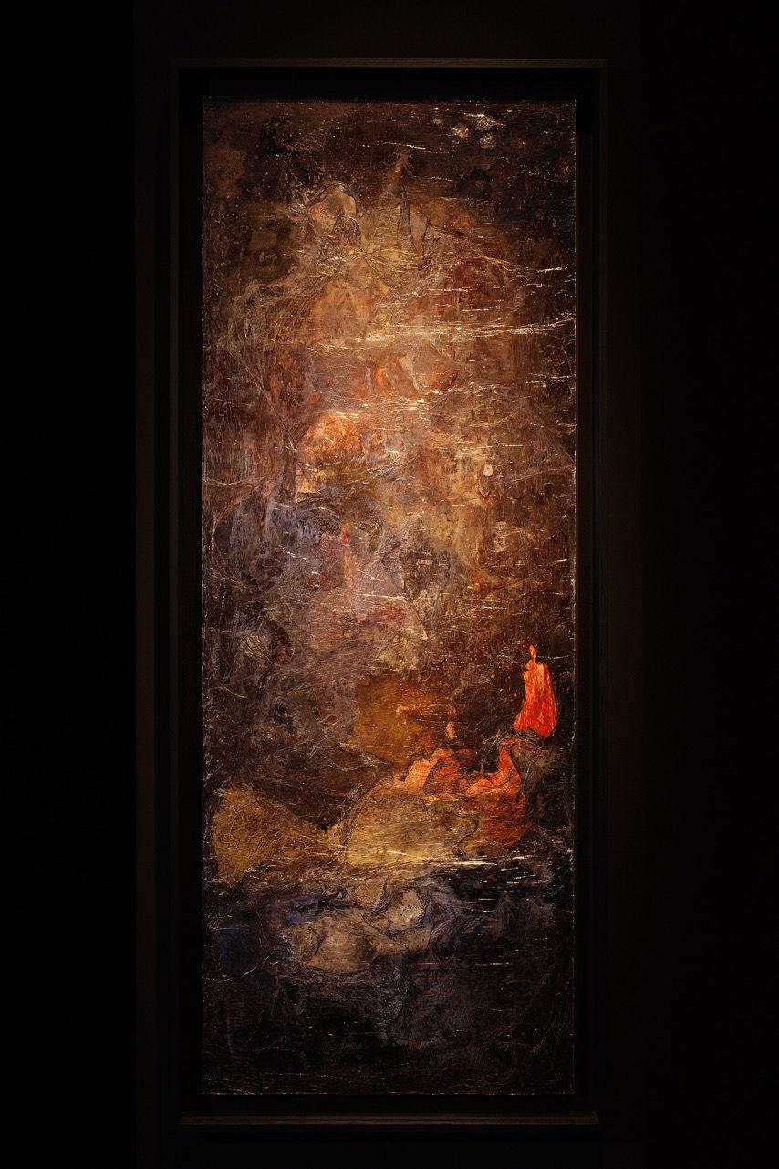Evi Keller, Matière-Lumière sans titre, ML-S-13-0302, Mixed media on wood, 170 x 70 cm, 2013