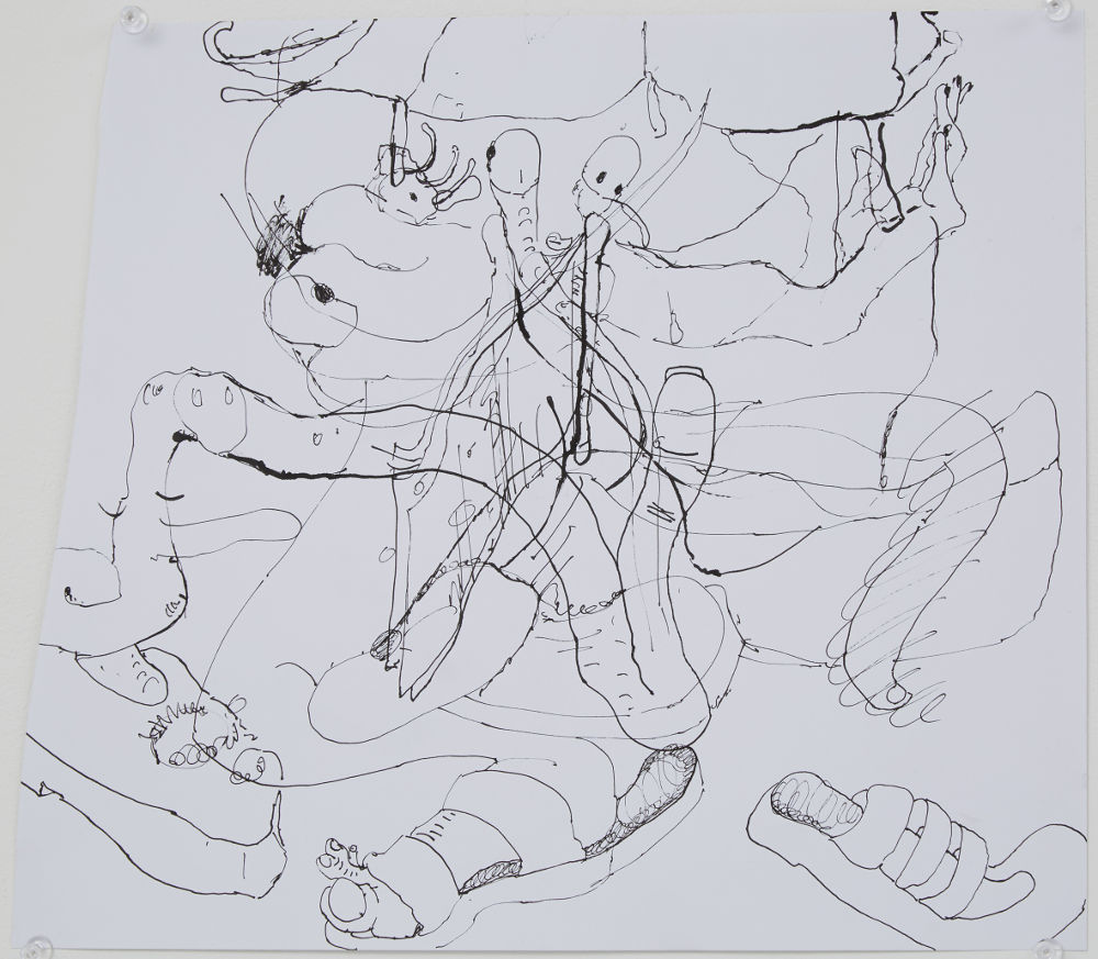 Stefanie Heinze, Untitled (Dropping the Guru), 2016, ink on paper, 29.5 x 34.5 cm, 11.6 x 13.6 in. Courtesy Pippy Houldsworth Gallery, London. Copyright the artist