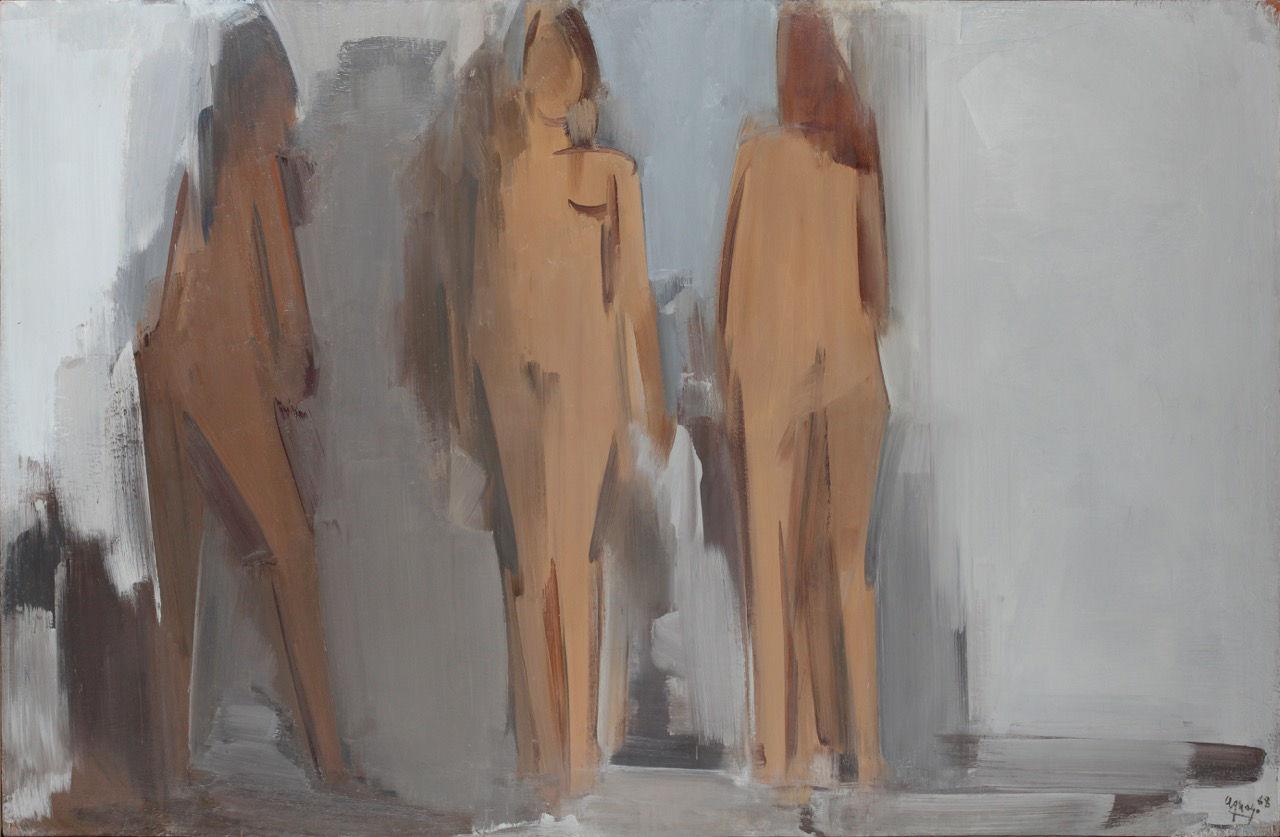 Fermín Aguayo, Trois nus pour un espace, Oil on canvas, 190 x 290 cm, 1968