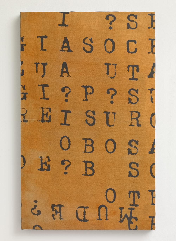 VINCENZO AGNETTI, Oltre il linguaggio, Semiosi, 1970. Photographic enlargement on emulsioned canvas 25 11/16 x 15 3/4 inches (65.2 x 40 cm) Framed: 26 7/16 x 16 3/4 inches (67.2 x 42.5 cm). Courtesy Lévy Gorvy. Photo: Stephen White