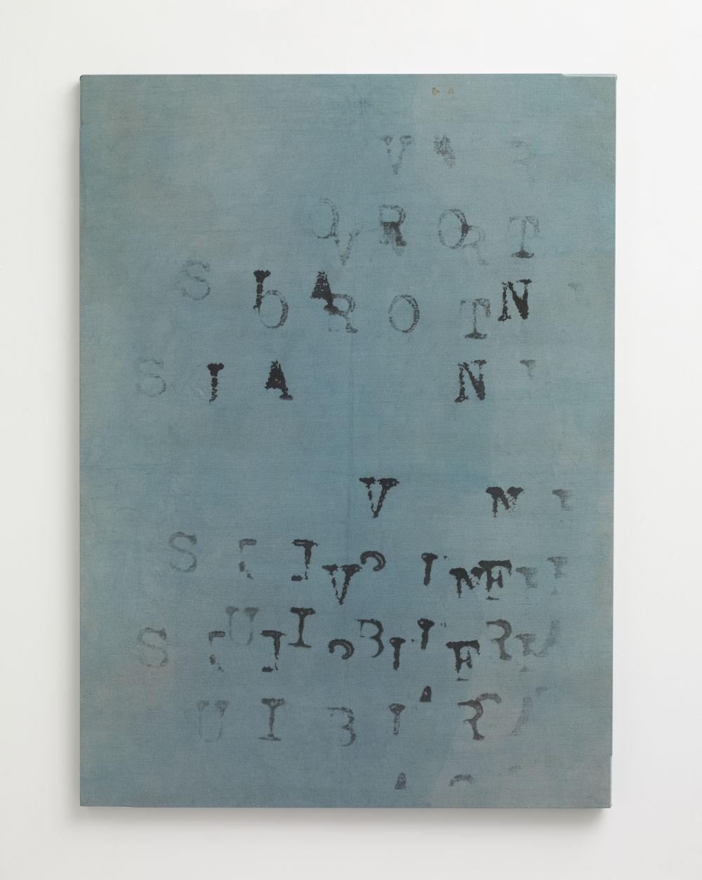 VINCENZO AGNETTI, Oltre il linguaggio, 1970. Photographic enlargement on emulsioned canvas 43 7/16 x 31 11/16 inches (110.3 x 80.5 cm) Framed: 44 1/2 x 32 9/16 inches (113 x 82.7 cm). Courtesy Lévy Gorvy. Photo: Stephen White