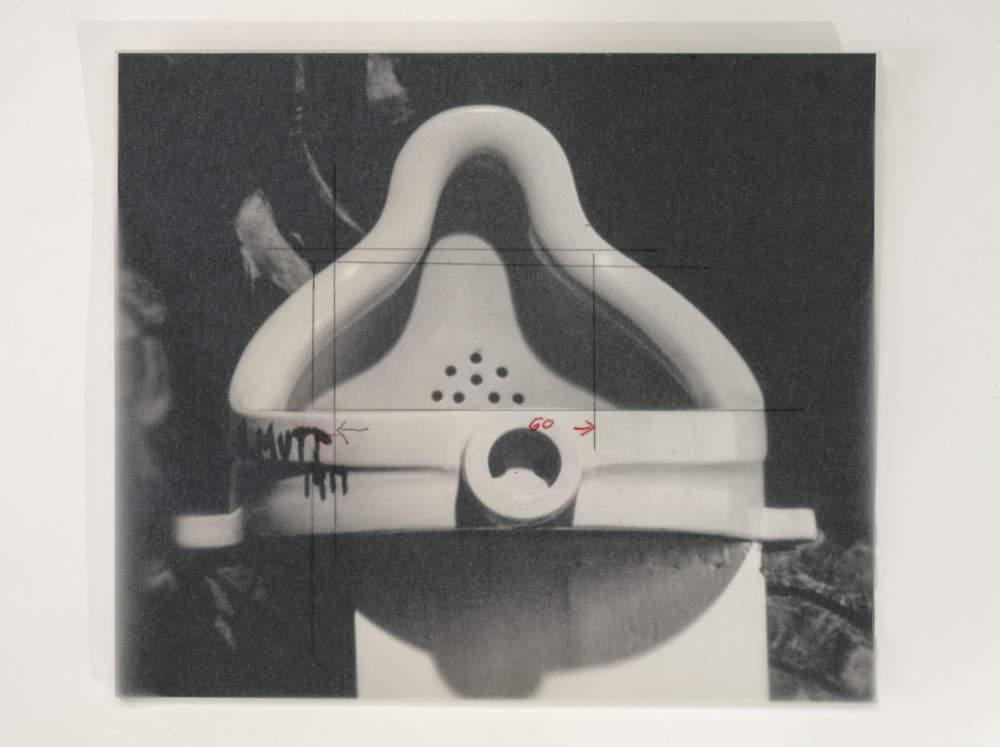 Sturtevant, Duchamp Fontaine. Black & white photograph hand print 20,2 x 23,4 cm (7,95 x 9,21 in)