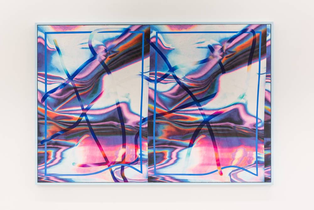 ANNE VIEUX, //wavelength (double vision series), 2017. Acrylic on sublimation dyed faux suede, traces, frame 88.9 x 132.1 cm (35 x 52 in). Unique