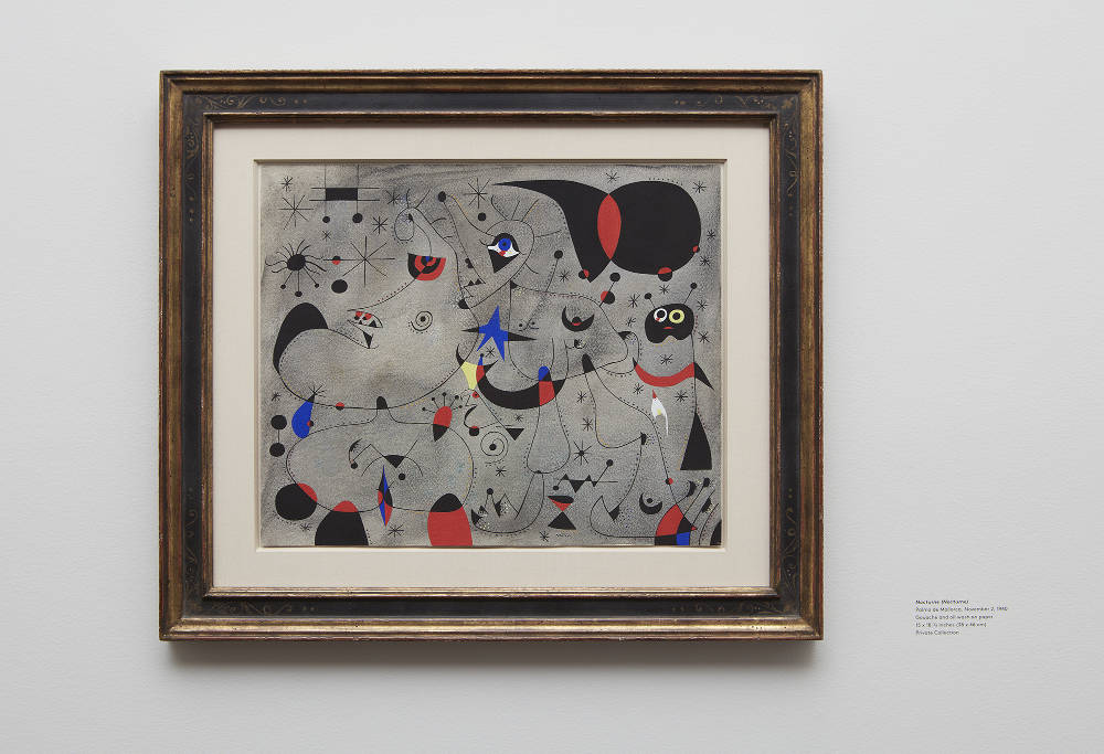 Joan Miró, Nocturne. Palma de Mallorca, November 2, 1940. Private Collection. Photo by Kent Pell / Art © 2017 Successió Miró / Artists Rights Society (ARS), New York / ADAGP, Paris