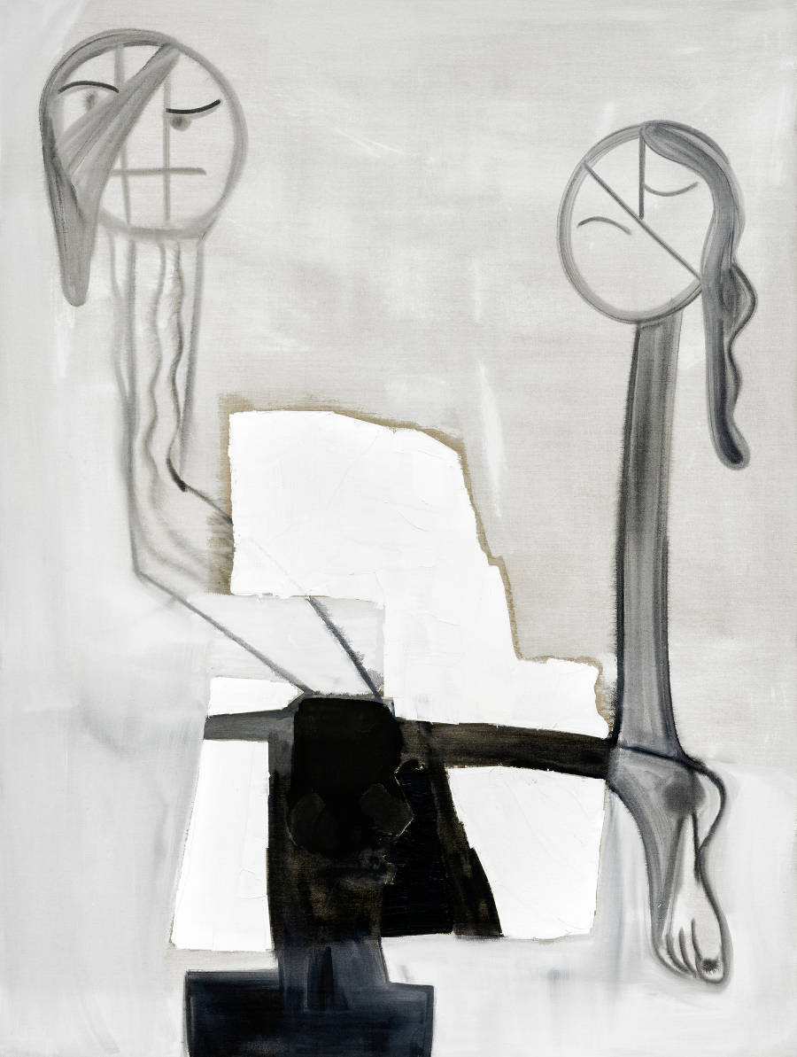 Tobias Pils, Untitled (figures), 2016. Mixed media on canvas 202 x 152 cm / 79 1/2 x 59 7/8 inches. Courtesy Galerie Eva Presenhuber, Zurich © Tobias Pils. Photo: Jorit Aust