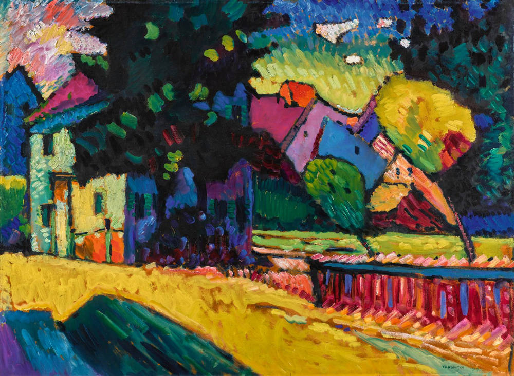 Wassily Kandinsky, MURNAU - LANDSCHAFT MIT GRÜNEM HAUS (MURNAU - LANDSCAPE WITH GREEN HOUSE). Signed Kandinsky and dated 1909 (lower right); signed Kandinsky on the reverse; signed Kandinsky, titled and numbered no. 79 on the backboard. Oil on board 70 by 96cm. 27 1/2 by 37 3/4 in. Painted in 1909.