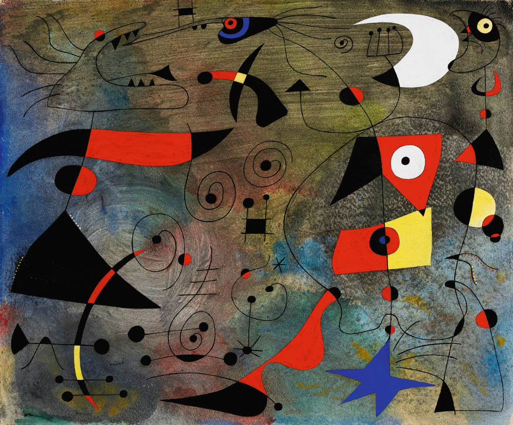 Joan Miró, FEMME ET OISEAUX. Signed Miró (lower left); signed Joan Miró, titled and dated Varengeville s/mer 13/IV/1940 on the reverse. Gouache and oil wash on paper 38 by 46cm. 15 by 18 1/8 in. Executed in Varengeville-sur-Mer on 13th April 1940.