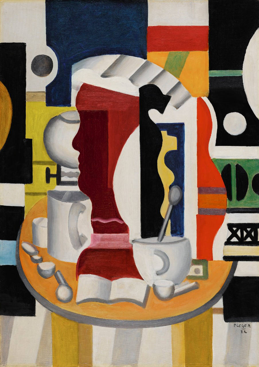 Fernand Léger, NATURE MORTE AU PROFIL. Signed F. Léger and dated 22 (lower right); signed F. Léger, dated 22 and inscribed Nature morte on the reverse. Oil on canvas 65 by 46cm. 25 1/2 by 18 1/8 in. Painted in 1922.