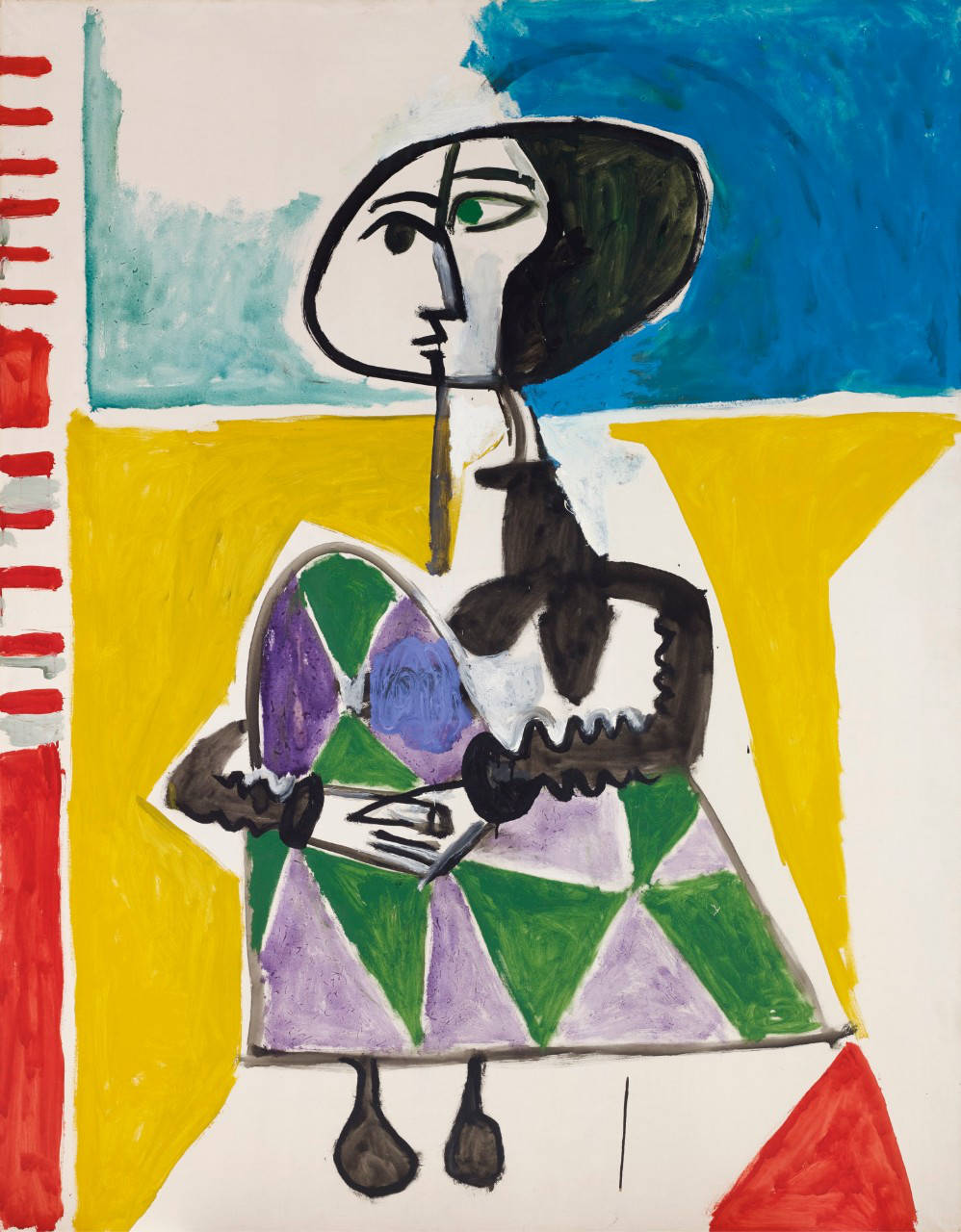 Pablo Picasso, FEMME ACCROUPIE. Dated 8.10.54.II on the reverse. Oil on canvas 146 by 113.5cm. 57 1/2 by 44 3/4 in. Painted on 8th October 1954.