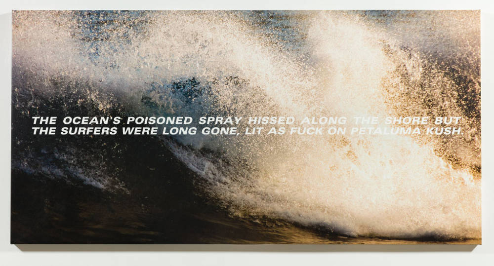 Alex Israel and Bret Easton Ellis, The Surfers, 2017. Acrylic and UV ink on canvas 182,9 x 365,8 cm 72 x 144 inches © Alex Israel - Photo: Michael Underwood. Courtesy of the Artist and Almine Rech Gallery