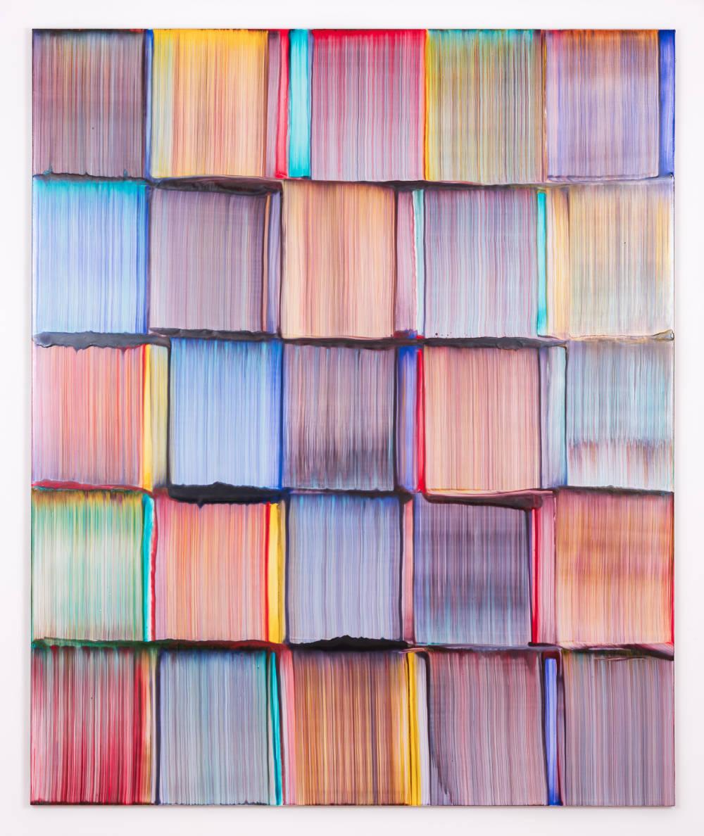 Bernard Frize, Hulke, 2017. Acrylic and resin on canvas 173 x 145 cm (68 1/8 x 57 1/8 in.)