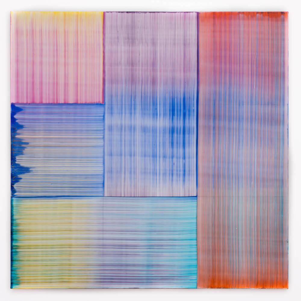 Bernard Frize, Kadi, 2017. Acrylic and resin on canvas 90 x 90 cm (35 3/8 x 35 3/8 in.)