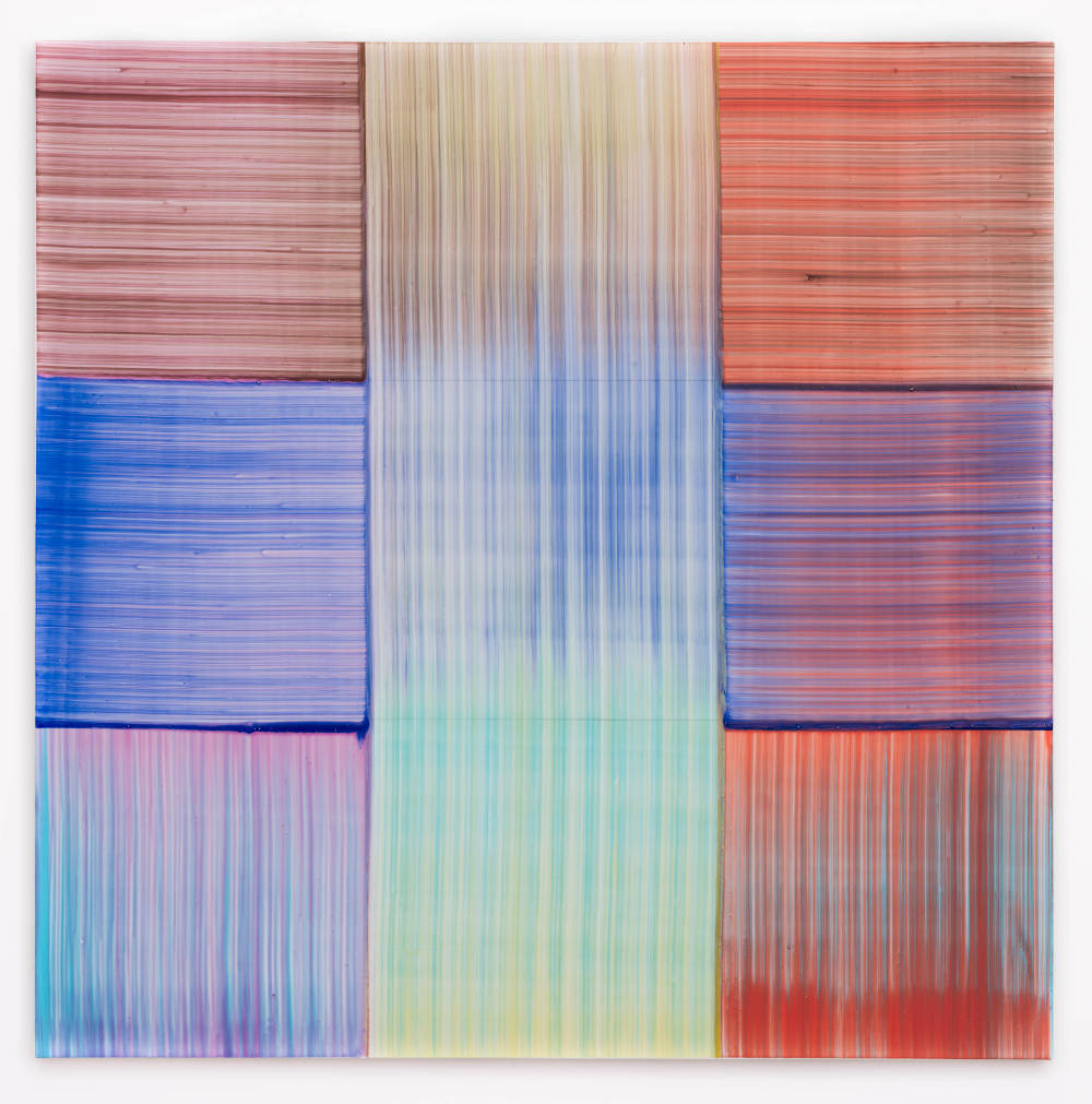 Bernard Frize, Kore, 2017. Acrylic and resin on canvas 90 x 90 cm (35 3/8 x 35 3/8 in.)