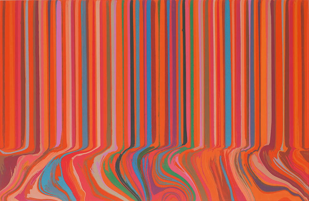 Ian Davenport, Colourcade Buzz: Red and Orange Mirrored, 2017. Unique etching with chine collé on Hahnemühle Bright White 350gsm paper, framed. Paper 115.0 x 165.8 cm / Image 96.8 x 149.5 cm