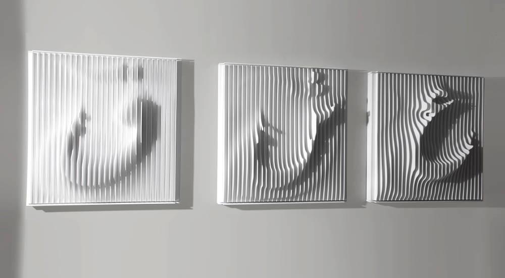 Ramin Shirdel, Eyn Shin Ghaf (white), 2016. Mixed Media Triptych ,Each 123.5x120x28cm, overall : 360x123.5x28. Edition of 1 +1Ap