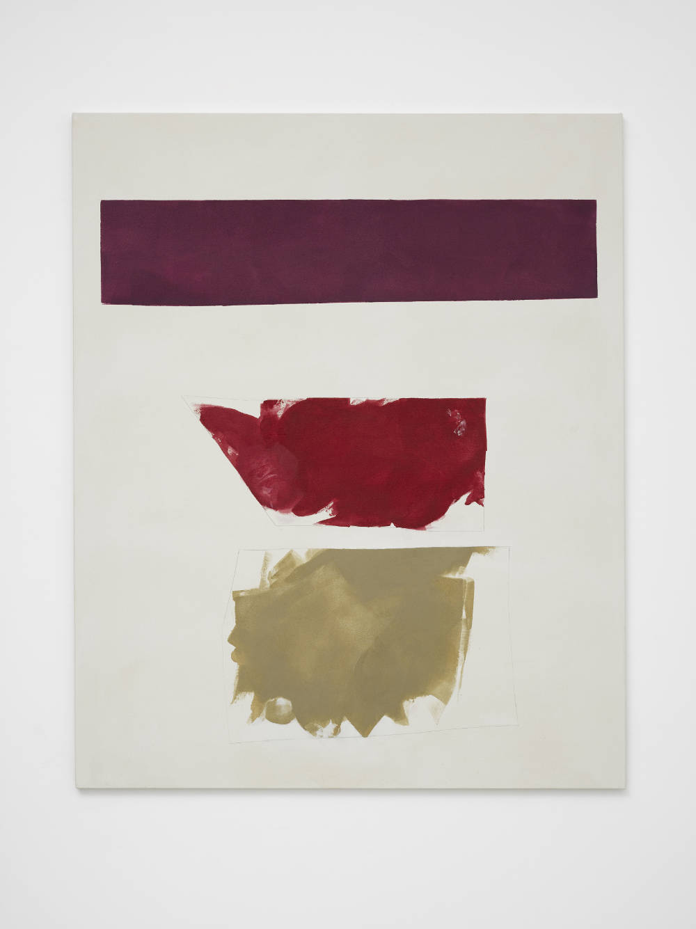 Peter Joseph, Deep Red, Scarlet and Ochre, 2016. Acrylic on cotton duck 54 x 44 inches (137.2 x 111.8 cm) © Peter Joseph; Courtesy Lisson Gallery. Photo by Jack Hems