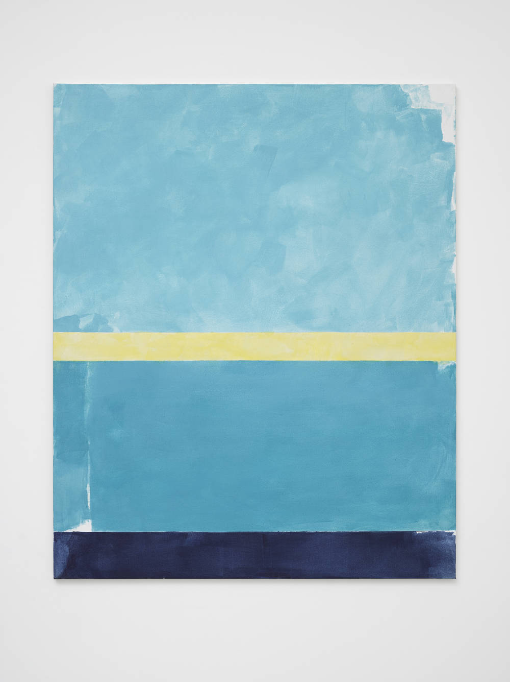 Peter Joseph, Turquoise, Yellow and Ultramarine, 2016. Acrylic on cotton duck 54 x 44 inches (137.2 x 111.8 cm) © Peter Joseph; Courtesy Lisson Gallery. Photo by Jack Hems