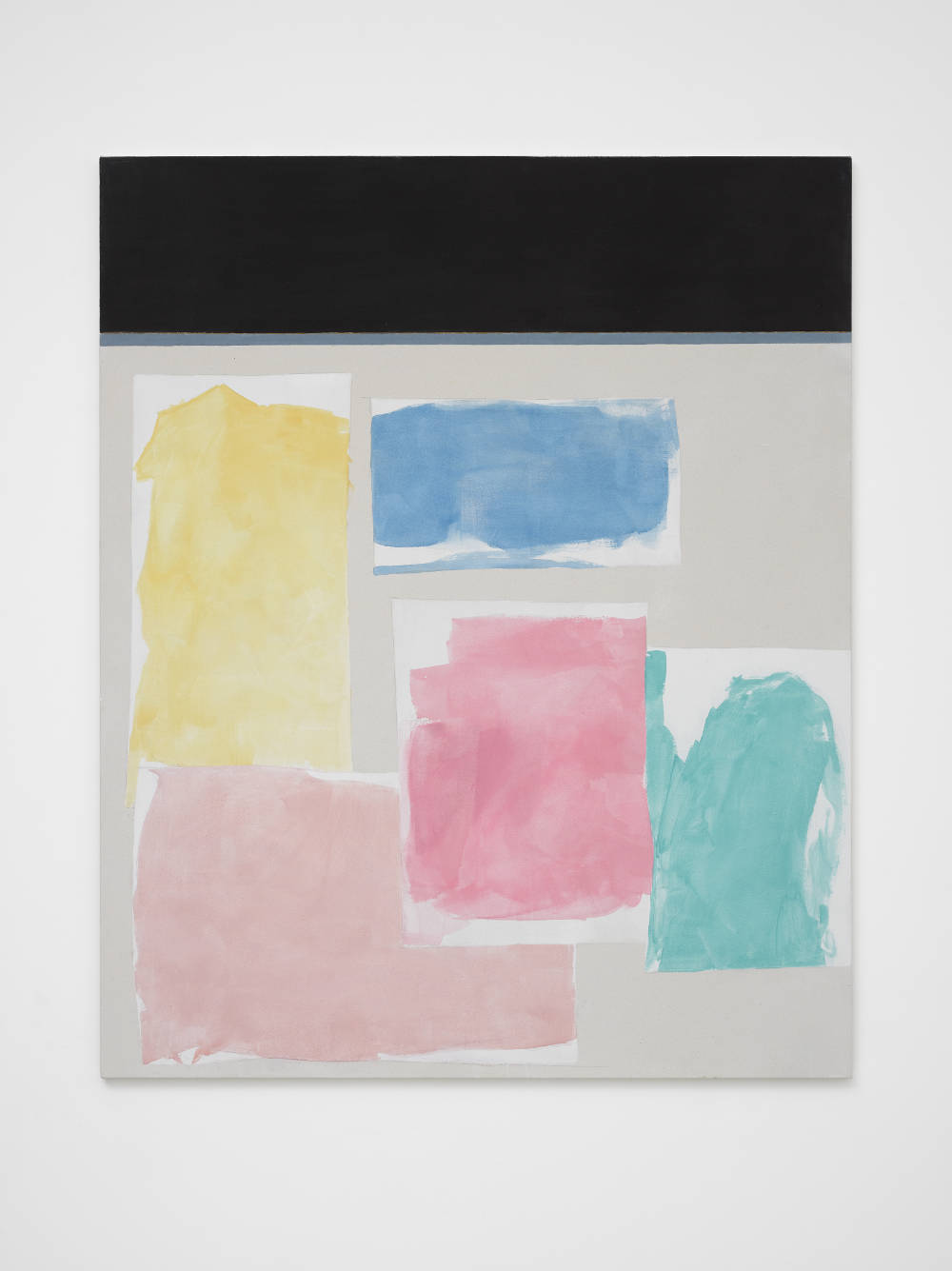 Peter Joseph, Black, Yellow, Blue, 2 pinks and Turquoise, 2016. Acrylic on cotton duck 54 x 44 inches (137.2 x 111.8 cm) © Peter Joseph; Courtesy Lisson Gallery. Photo by Jack Hems