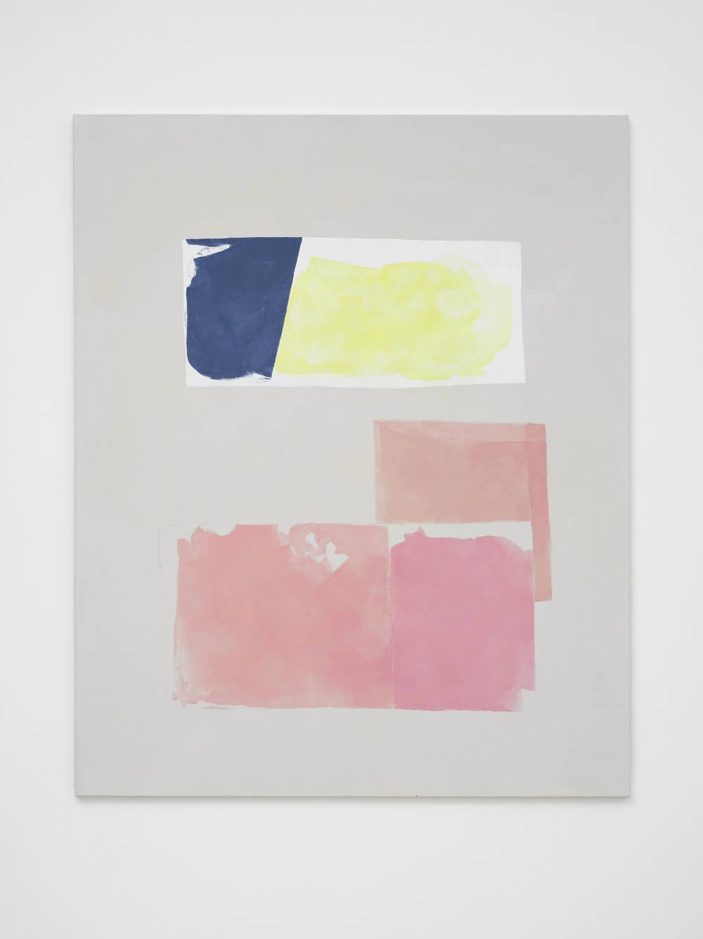 Peter Joseph, Dark Blue, Lemon and Pink, 2017. Acrylic on cotton duck 54 x 44 inches (137.2 x 111.8 cm) © Peter Joseph; Courtesy Lisson Gallery. Photo by Jack Hems