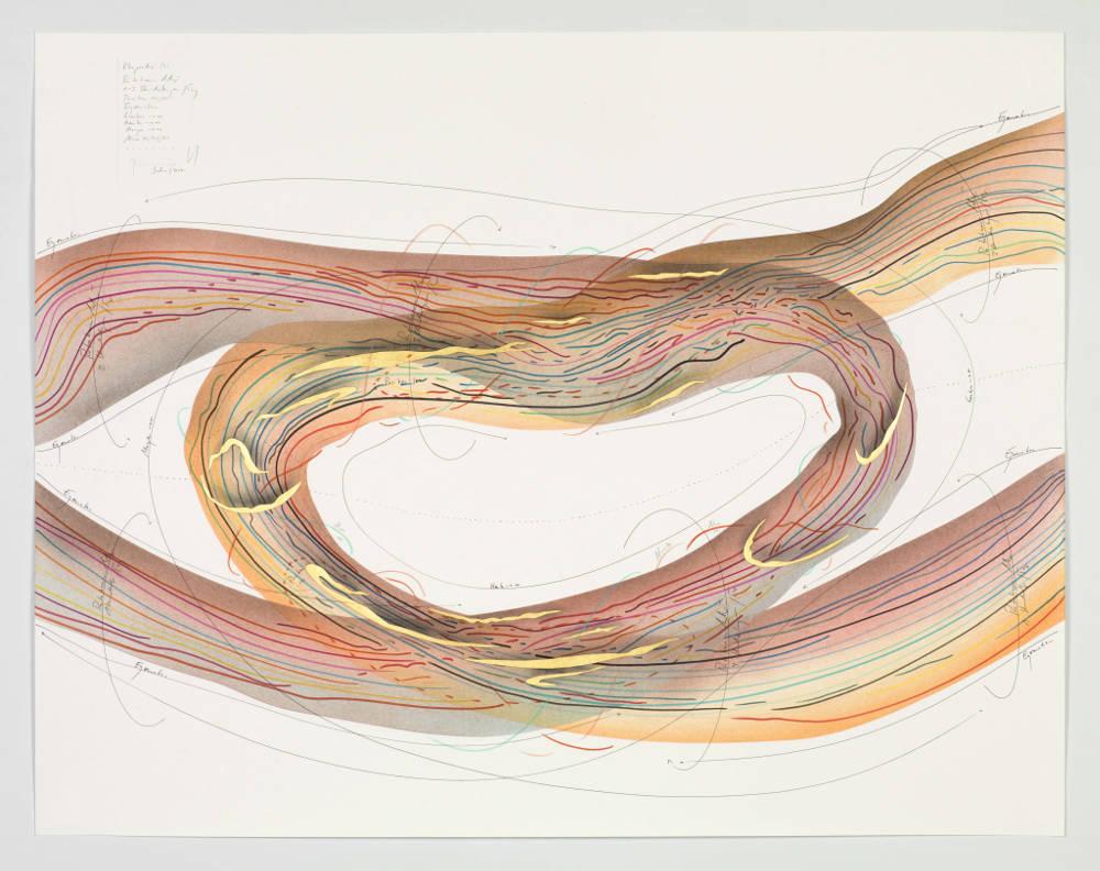 Jorinde Voigt, 'Rhapsodie (3)', (2017) Ink, gold leaf, alumnium leaf, indian ink, pastel, pencil on paper 68 x 87cm © Jorinde Voigt; Courtesy Lisson Gallery