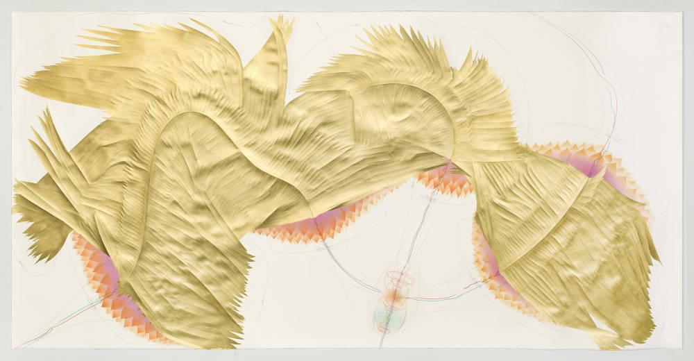 Jorinde Voigt, 'The Landing (1)', (2017) Ink, gold leaf, indian ink, pastel, pencil on paper 140 x 280cm © Jorinde Voigt; Courtesy Lisson Gallery