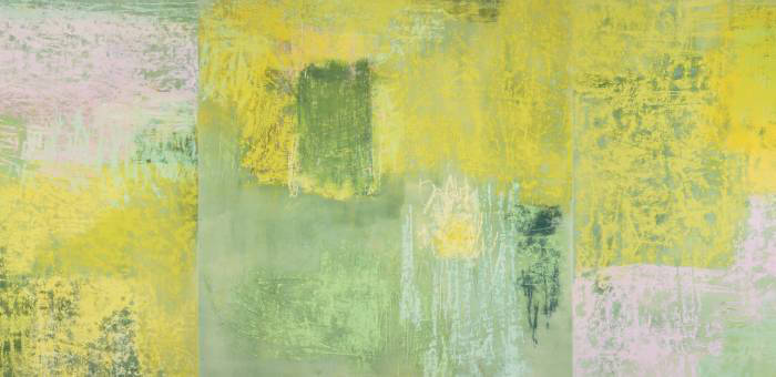 Monique Frydman, 'L'Absinthe' (detail), 1989. Pastel and pigments on cotton canvas. 190 × 570 cm (75 × 224½ in), overall 190 × 190 cm (75 × 75 in), each of 3 panels. Collection of the artist. Photograph by Monique Frydman Studio