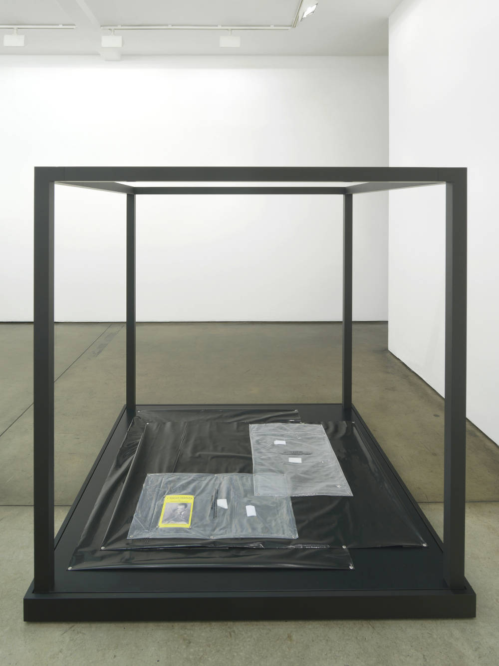 Tom Burr, Federal Asphyxiation, 2017. Black plastic sheeting, clear plastic bags, steel push pins, paperback copy of 'J. Edgar Hoover on Juvenile Delinquency: with Commentary by Michael Scott' (1946), powder coated aluminium, painted plywood 154 x 150 x 150 cm