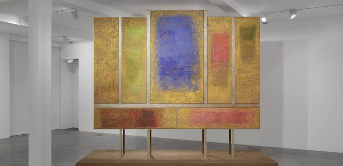 Monique Frydman 'Polyptyque Sassetta', 2012-2013. Pastel, pigments and binding agent on linen canvas, gold-leaf gilded wood, 332 x 400 x 150 cm (130¾ x 157½ x 59 in). Collection of the artist. Photography by Ben Westoby. Courtesy of Parasol unit.