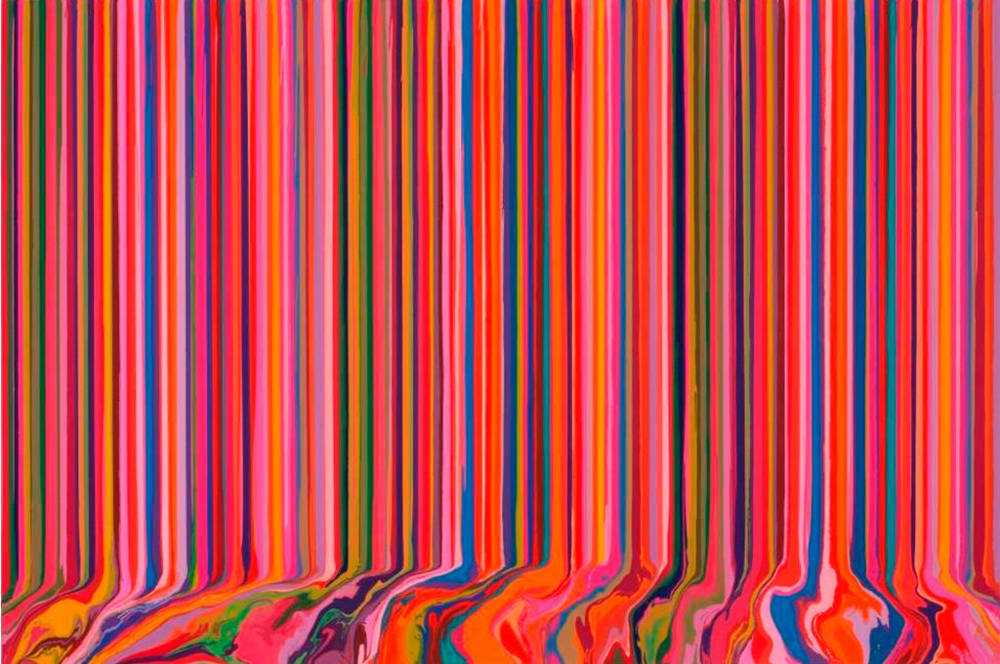 Ian Davenport, Poured Triptych Etching: Primavesi (After Klimt), 2017. Etching with chine collé on three sheets of Hahnemühle Bright White 350gsm paper. Paper 177.0 x 255.0 cm / Image 159.0 x 239.0 cm. Edition of 15