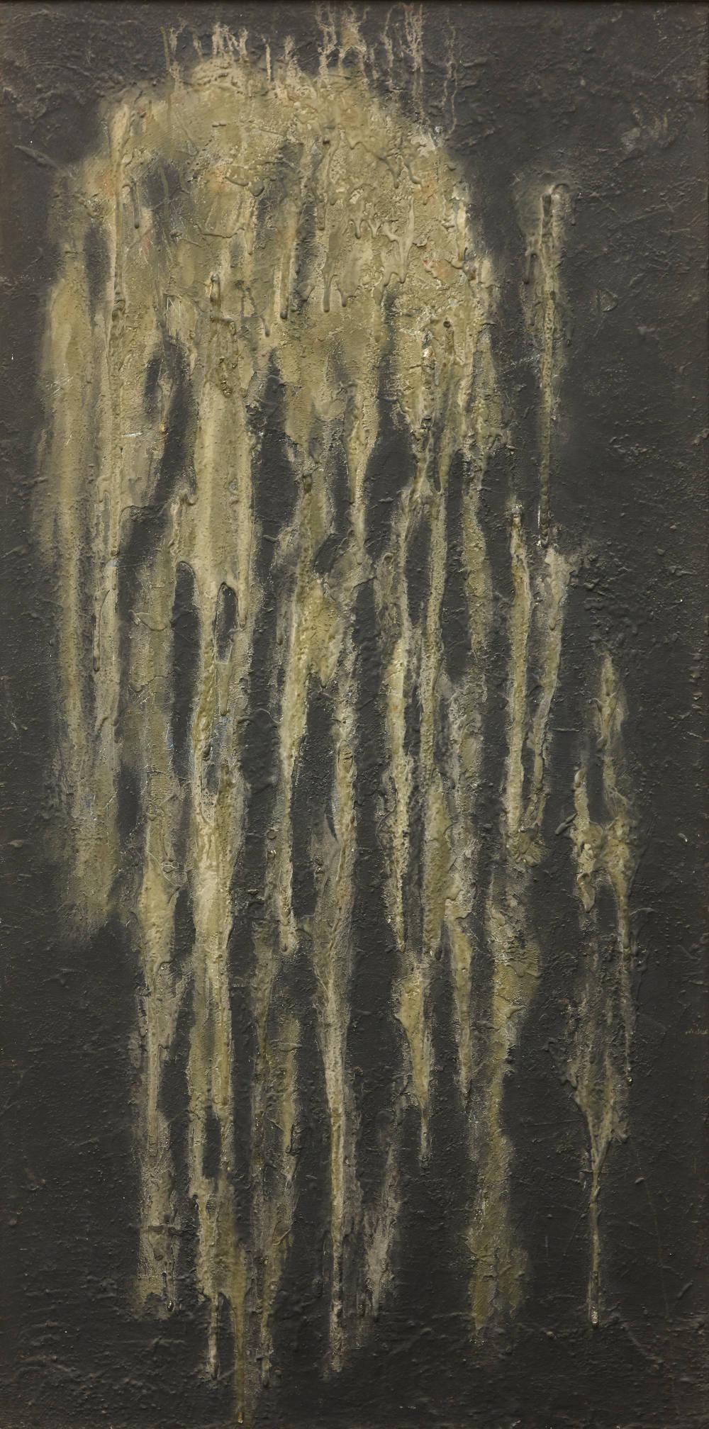 Ryuji Tanaka, Sei (II), 1962-66. Mineral pigment and mixed media on panel 183.5 x 93 cm (72 1/4 x 36 5/8 in.)