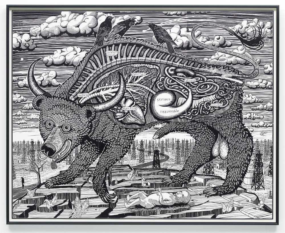Grayson Perry, Animal Spirit, 2016 Woodcut printed, Heritage White, Courtesy the Artist, Paragon Press and Victoria Miro, London, Photography: Stephen White © Grayson Perry
