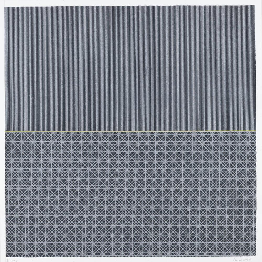 Pouran Jinchi, Echo, 2016. Graphite markings on colorfix paper 49.5 x 49.5 cm (19 1/2in x 19 1/2in)