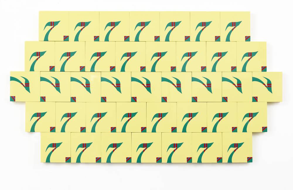 Pouran Jinchi, J as Juliet, 2017. Enamel on MDF panels 76 x 137 cm, 30in x 54in