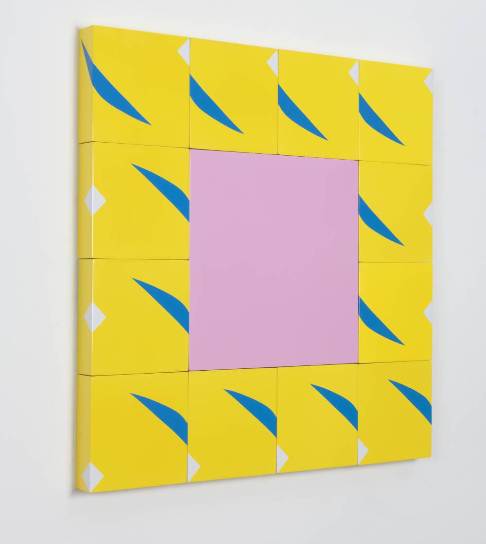 Pouran Jinchi, Z as Zulu 2, 2017. Enamel on MDF panels 61 x 61 cm, 24in x 24in. Side view