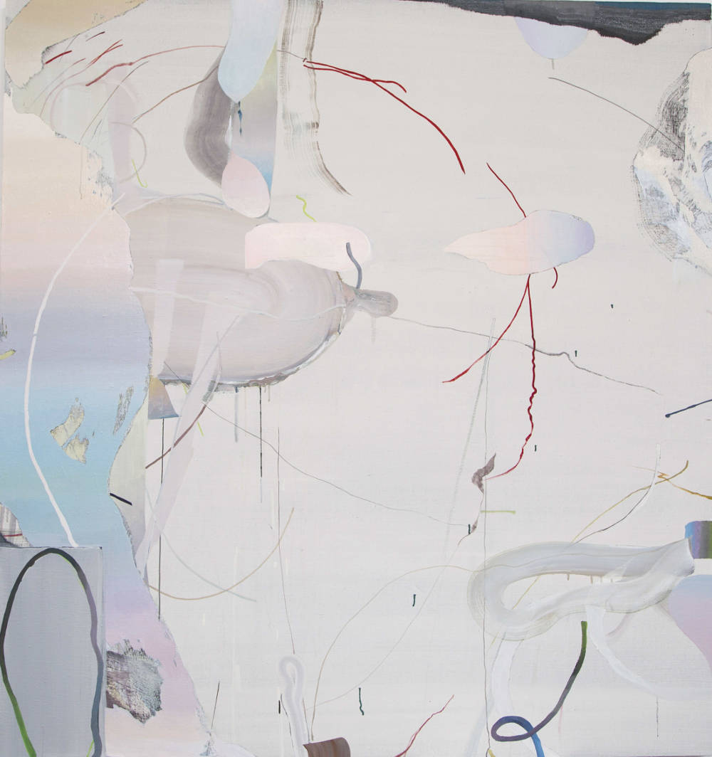 Qingzhen Han, Stretched Loop 2017, gesso, watercolour and acrylic on canvas 180x170cm