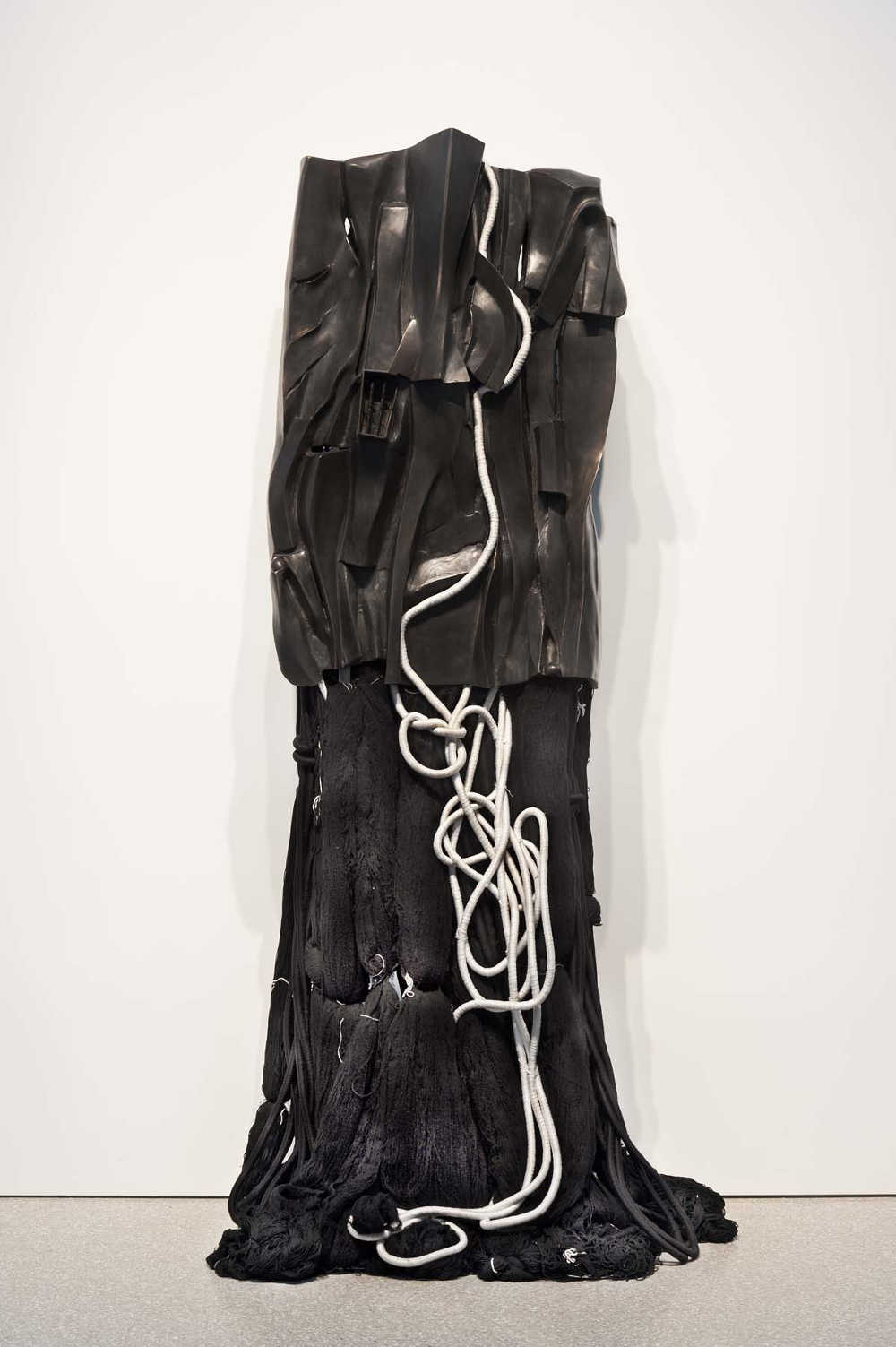 Barbara Chase-Riboud (b.1939), Malcolm X #13, 2008. Black bronze, silk, wool, linen, and synthetic fibers 86