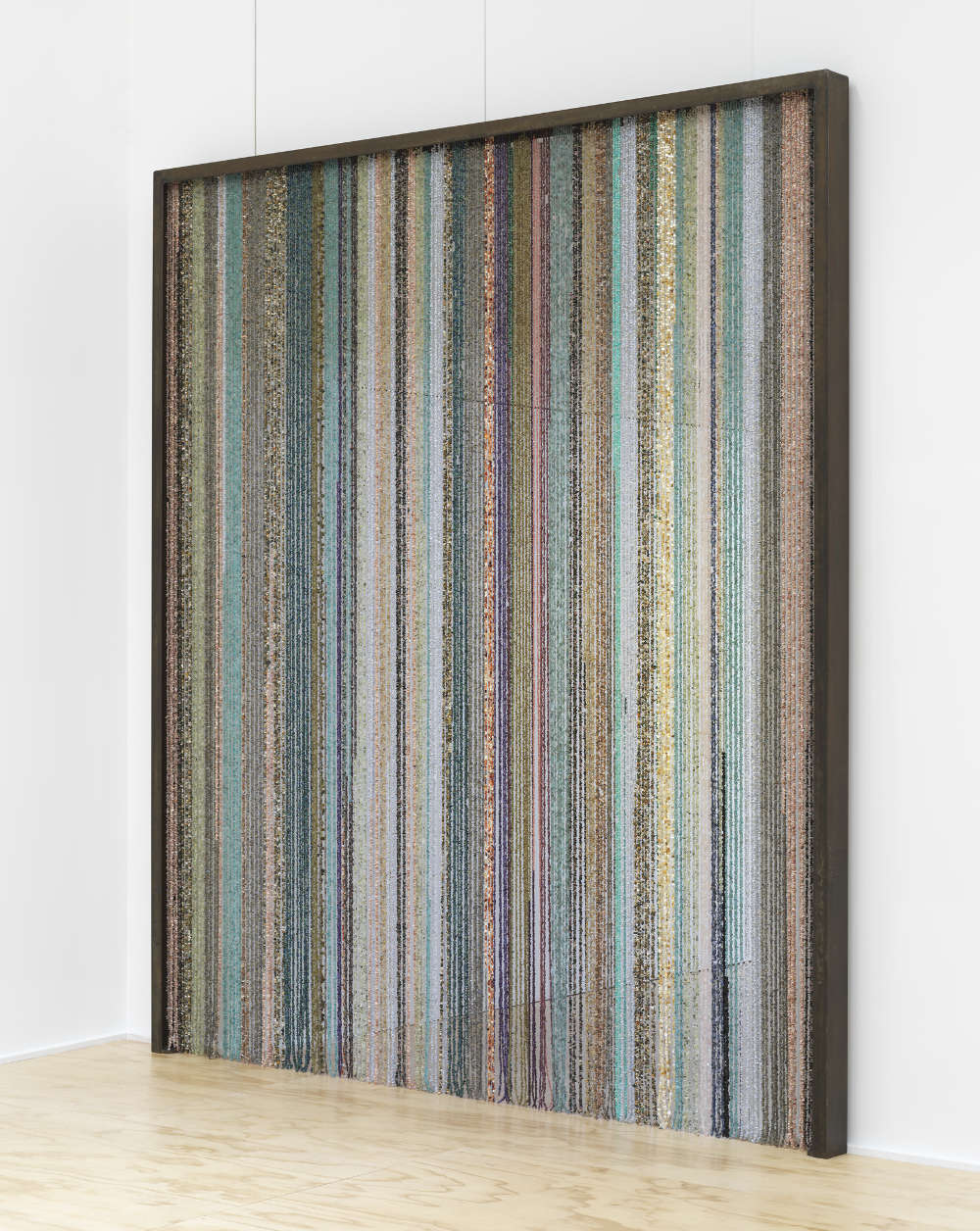 SAM FALLS, Healing sculpture (Curtain), 2017. Assorted gemstones, nylon coated steel wire, steel frame 274.5 x 241.5 x 10 cm / 108 x 95 x 4 inches