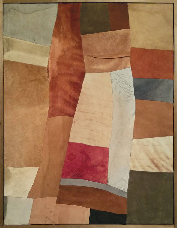 Nuvolo (Giorgio Ascani). Untitled. 1961. Dyed and sewn deerskin, 80.3 by 60.8 cm (31⅝ by 24 in.). Private collection
