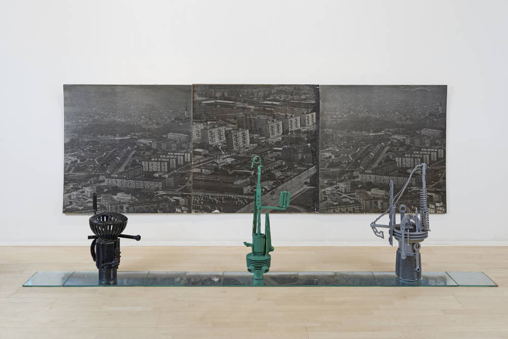 STANO FILKO, Models of Observation Towers, 1966 - 1967. Mixed media installation 124 x 300 x 85 cm 48¾ x 118 x 33½ in
