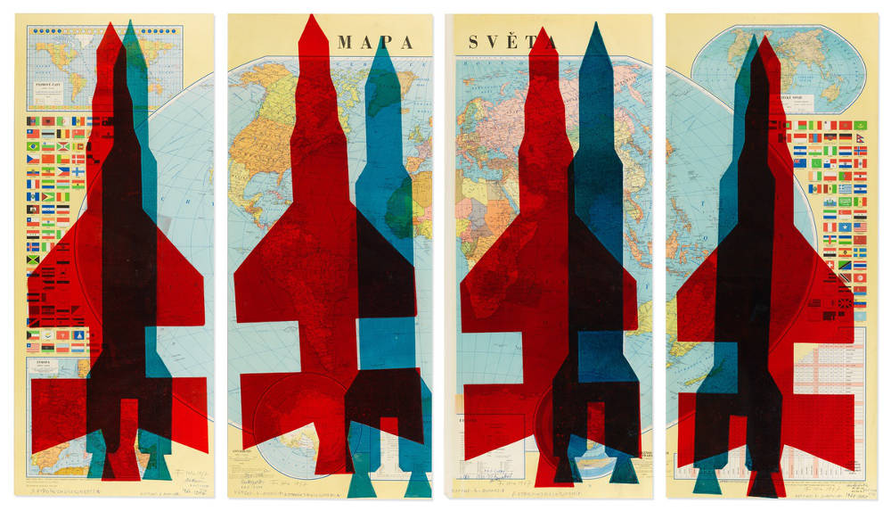STANO FILKO, Map of the World (Rockets), 1967. Monotype on map 95 x 180 cm 37⅜ x 70⅞ in