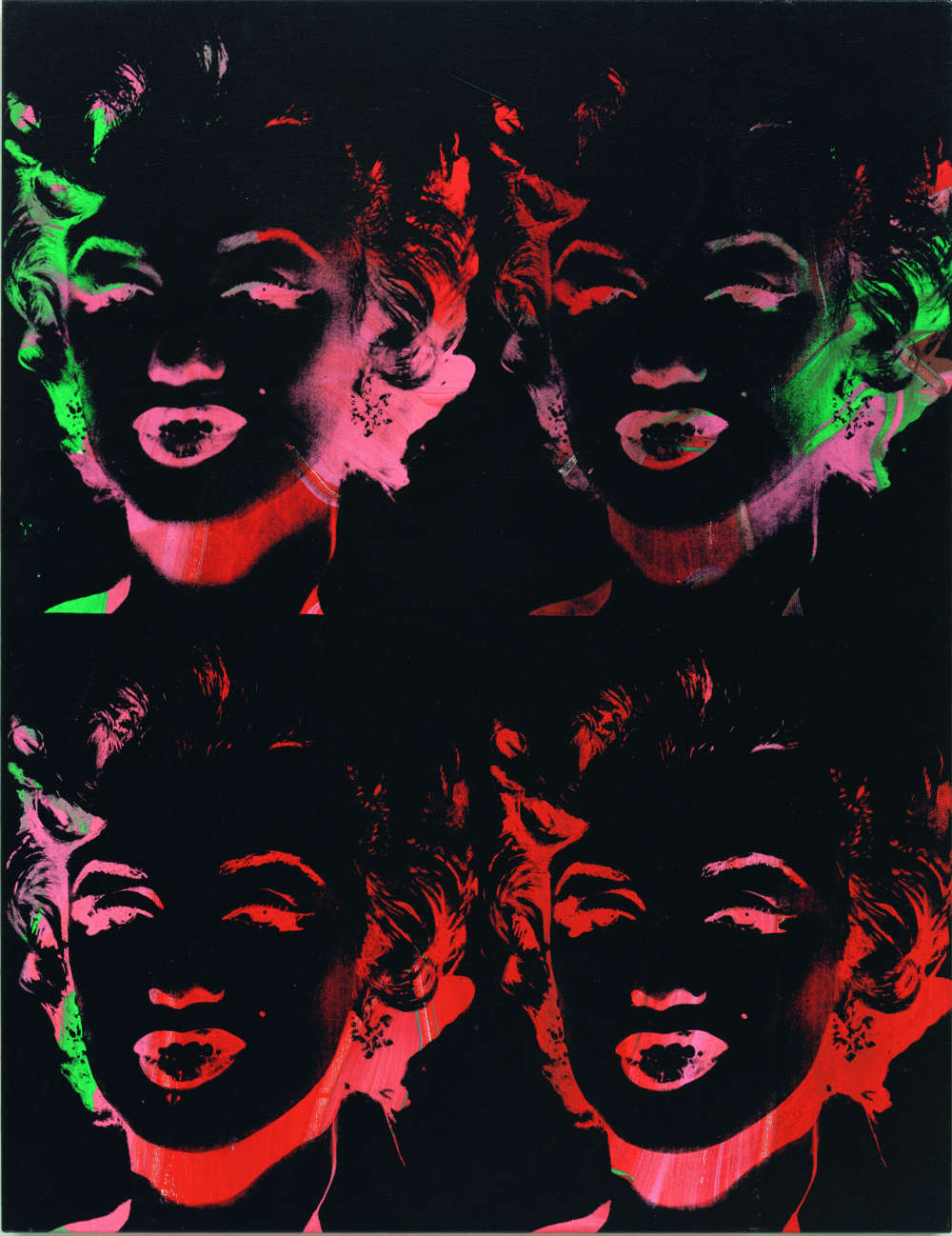 Andy Warhol, Four Multicolored Marilyns (Reversal Series), 1979-1986