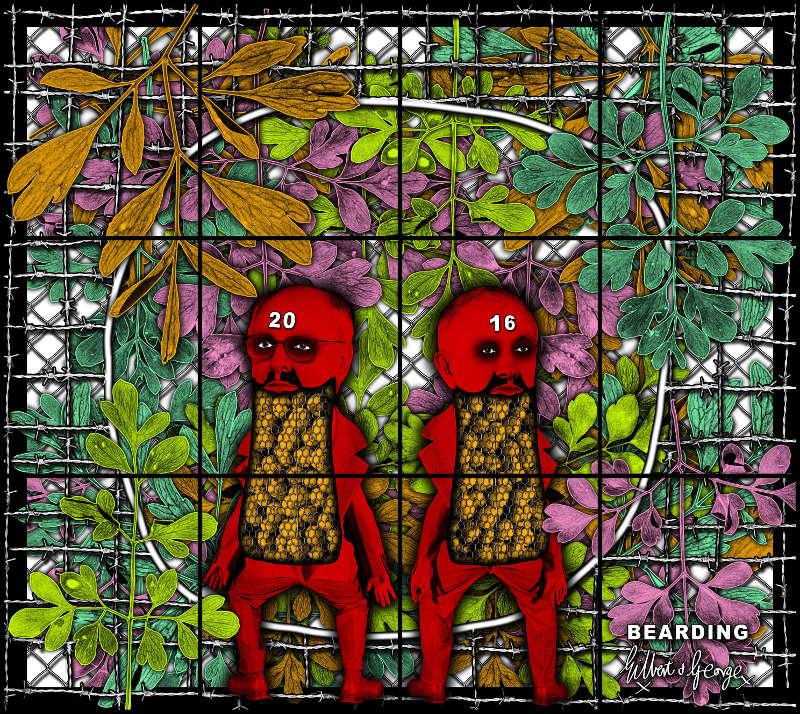 Gilbert & George, BEARDING, 2016. Mixed media, 226 x 254 cm © Gilbert & George. Courtesy Galerie Thaddaeus Ropac, London · Paris · Salzburg