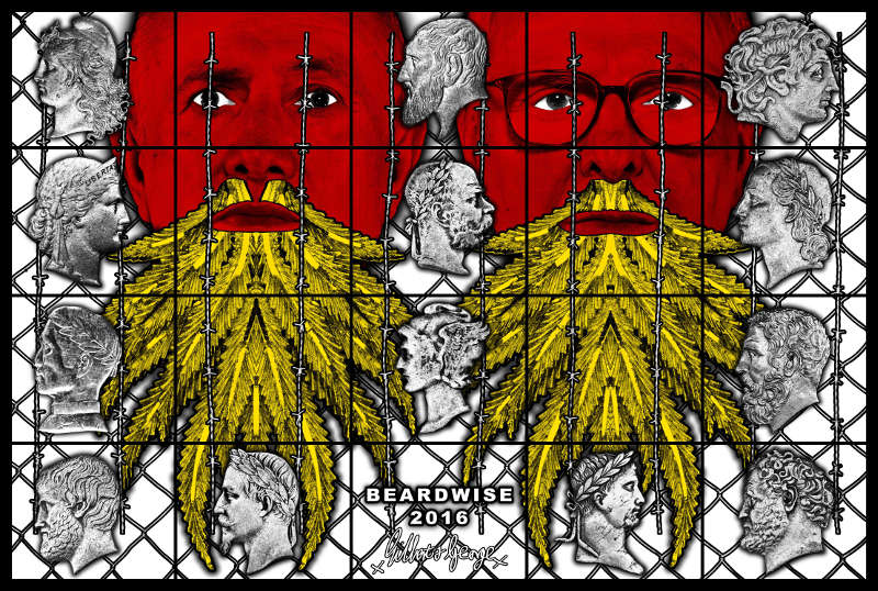 Gilbert & George, BEARDWISE, 2016. Mixed media, 254 x 377 cm © Gilbert & George. Courtesy Galerie Thaddaeus Ropac, London · Paris · Salzburg