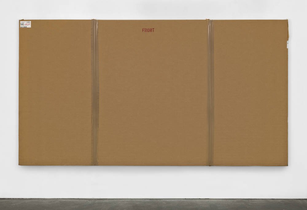 Merlin Carpenter, After John Hoyland 14.10.66, 2010, 2017. Cardboard, plastic and acrylic on canvas  200 x 367 x 5.5cm (78 3/4 x 144 1/2 x 2 1/8 in.) Courtesy of the artist and Simon Lee Gallery