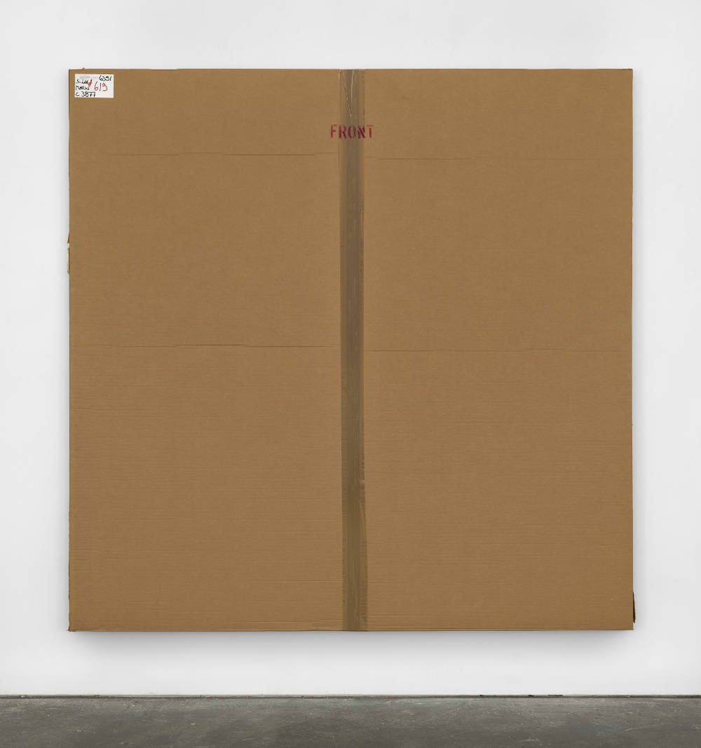 Merlin Carpenter, After John Hoyland 28.12.63, 2010, 2017. Cardboard, plastic and acrylic on canvas  215 x 215 x 5.5 cm (84 5/8 x 84 5/8 x 2 1/8 in.) Courtesy of the artist and Simon Lee Gallery