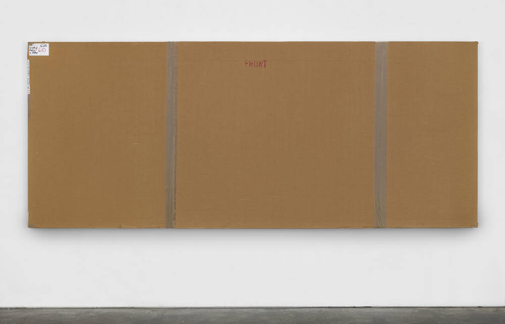 Merlin Carpenter, After John Hoyland 6.1.65, 2010, 2017.  Cardboard, plastic and acrylic on canvas 139 x 337 x 5.5 cm (54 3/4 x 132 5/8 x 2 1/8 in.) Courtesy of the artist and Simon Lee Gallery