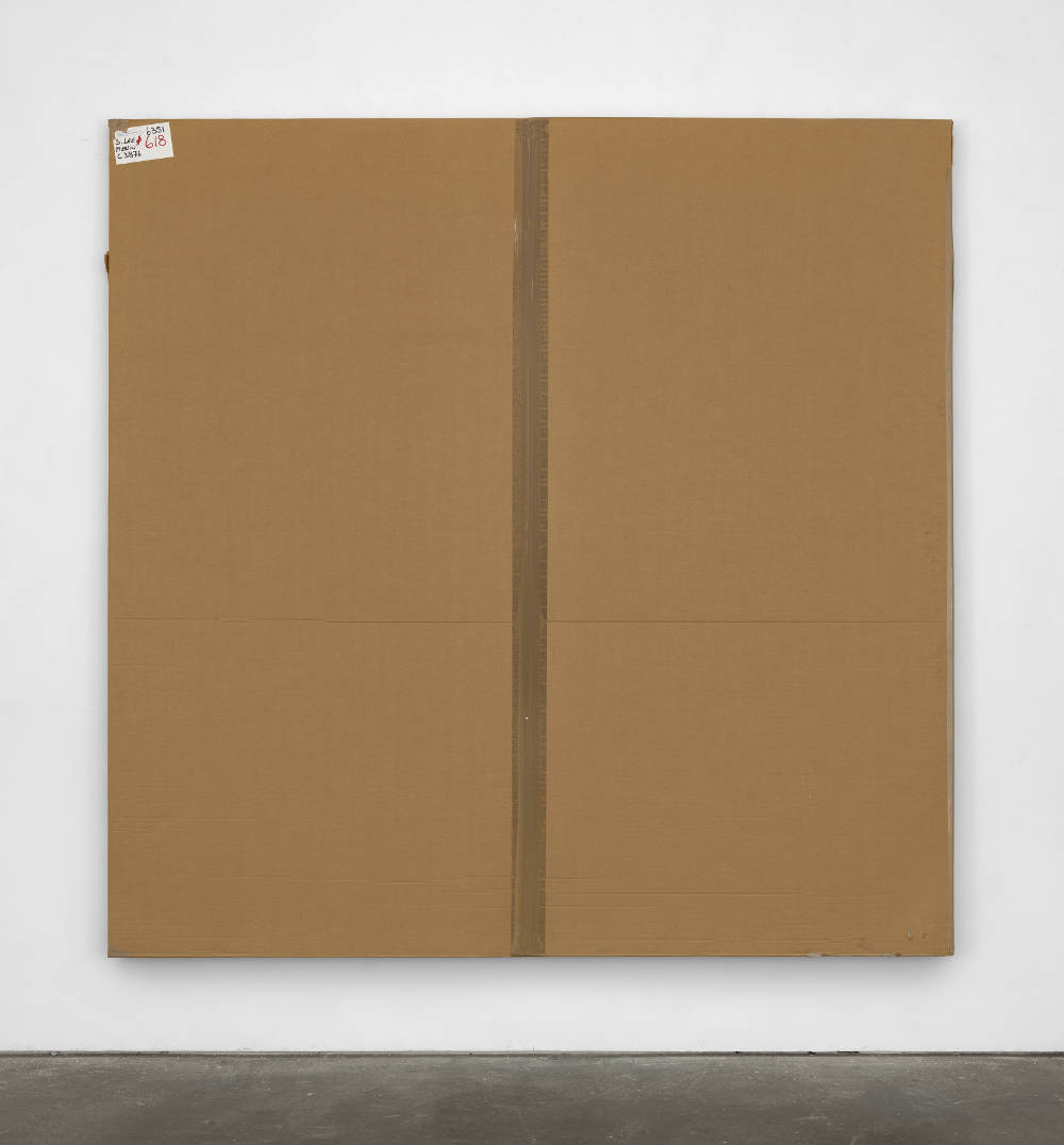 Merlin Carpenter, After John Hoyland 7.11.63, 2010, 2017. Cardboard, plastic and acrylic on canvas 215 x 215 x 5.5 cm (84 5/8 x 84  5/8 x 2 1/8 in.) Courtesy of the artist and Simon Lee Gallery