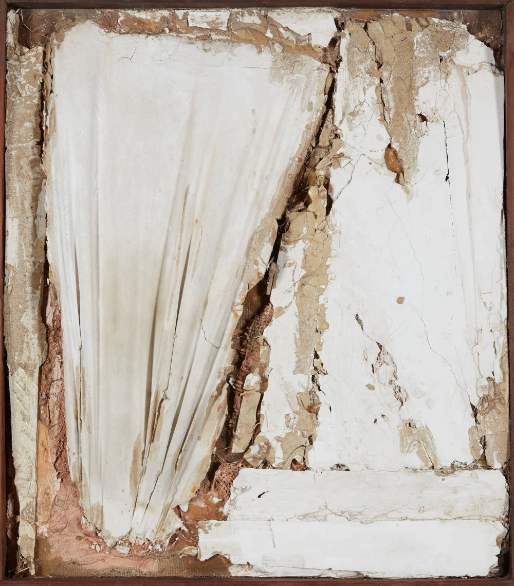 ROBERT MALLARY, Untitled, 1957-1958. Mixed media: Found materials bound with plaster with a wooden frame 29 1/2 x 26 x 3 1/2 in 75 x 66 x 9 cm